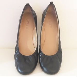J. Crew Anya Black Leather Ballet Flats Size 7